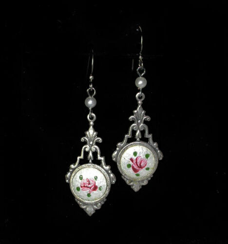 ~Dainty VICTORIAN Style Hand Painted Roses on Pearlized Enamel DROP EARRINGS!~~