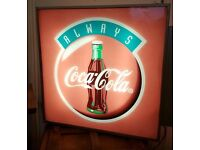 1990s Coca Cola Bar/Pub/Shop Illuminated Advertising Light Box/Sign Double Sided
