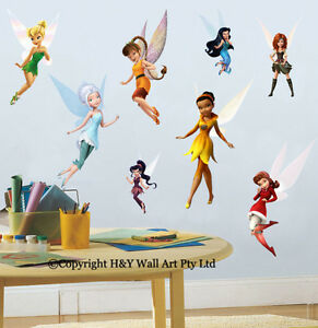 Full set of 8 pcs disney fairies wall stickers kids for Disney tinkerbell mural