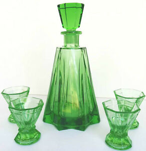 EMERALD GREEN CZECH ART DECO CRYSTAL DECANTER