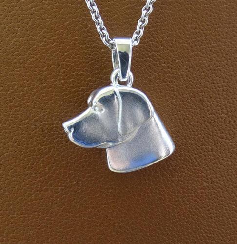 Small Sterling Silver Labrador Retriever Head Study Pendant