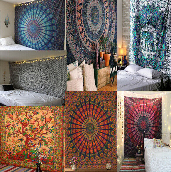 Indian Mandala Tapestry Wall Decor Wall Hanging Boho Queen Size Bedspread Throw