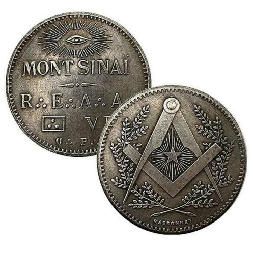 Mason Masonic Freemason Freemasonry Mont Sinai God Eye Seeing Collectible Coin