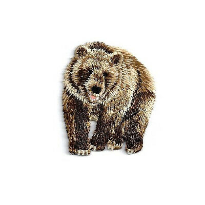 Brown Bear - Wild Animal - Zoo - Bear - Grizzly  - Embroidered Iron On Patch - Zoo Animal Crafts