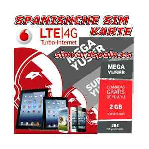 VODAFONE MEGA YUSER 4G LTE SPANISCHE PREPAID SIM KARTE  INTERNET SPANIEN SMART