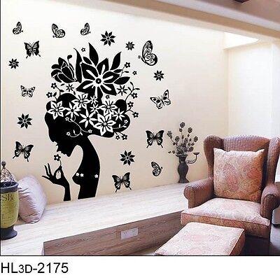 er Dekorativ Wanddeko Blumen Schmetterling Frau Schwarz Top (Dekorative Mädchen)
