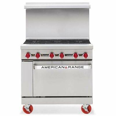 American Range Ar-6 36 Inch Heavy Duty 6 Burner Gas Range Standard Oven - Nsf