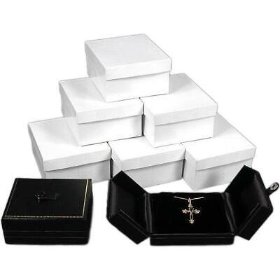 Pendant Earring Display Box Black Leatherette 6pc