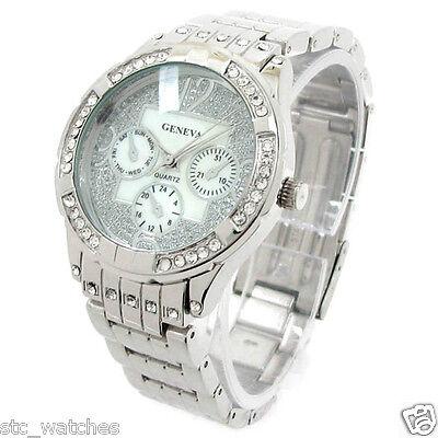 New Silver Sparkling Dial Geneva Crystal Bezel Women's Bracelet Quartz Watch