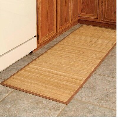 Natural Bamboo Island Mat 24 X 72, Non Slip Rubber Backing, Water Resistant Mat
