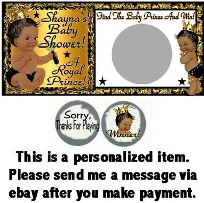 10 Ethnic Prince Baby Shower Birthday Party Scratch Off Game Cards Black Gold