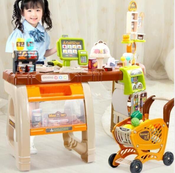 Kids Cash Register Pretend Play Supermarket Shop Till Toy Pl