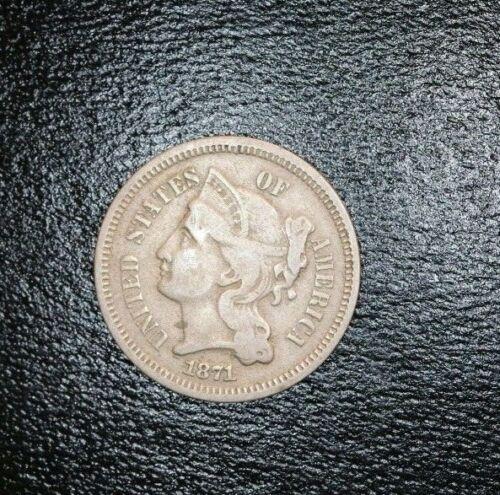 1871 US 3 Three Cent Nickel Piece Coin 3C