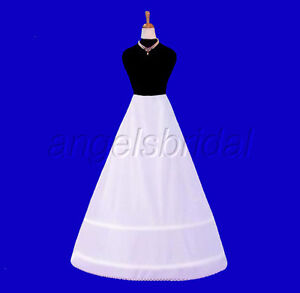2-HOOP-BONE-BRIDAL-WEDDING-GOWN-DRESS-PETTICOAT-CRINOLINE-A-LINE-SKIRT-SLIP-NEW