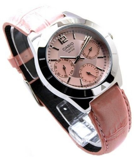 Authentic-Casio-Watch-Womens-Day-Date-Leather-Analog-Quartz-LTP-2069L-4A-NEW