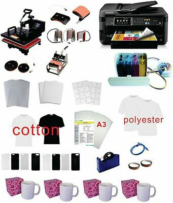 15x15 8in1 Pro Sublimation Heat Press 11x17 Epson Printer 7710 Ciss Kit