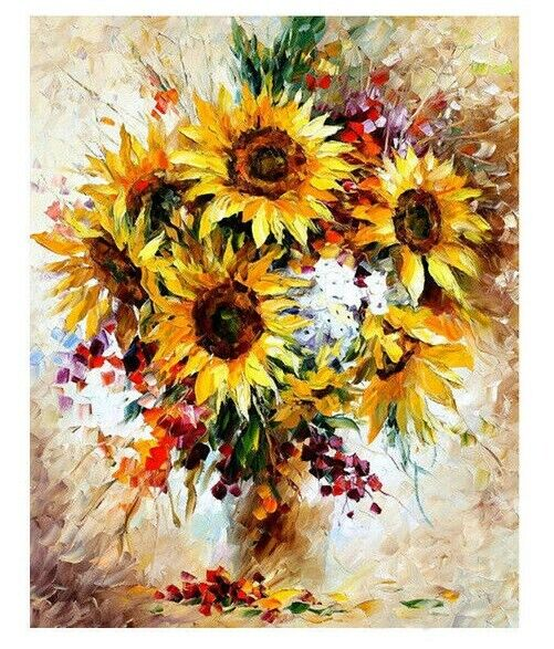 Floral Paint By Numbers For Adults Beautiful Acrylic Painting On Canvas Sunflowers Paint By Your Own DIY Kit Oil Wall Art Decoration