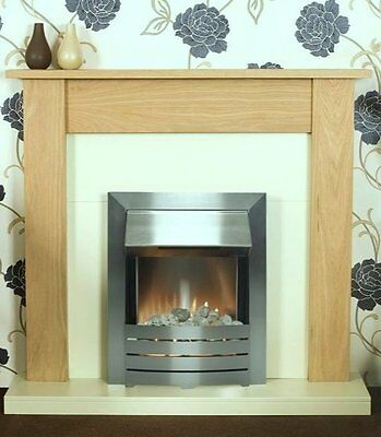 ELECTRIC CREAM WOOD OAK SURROUND SILVER FREESTANDING WALL FIRE FIREPLACE SUITE