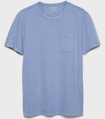 NWT Mens Banana Republic Garment Dyed Pocket Tee Crewneck T-Shirt Light Blue *4P