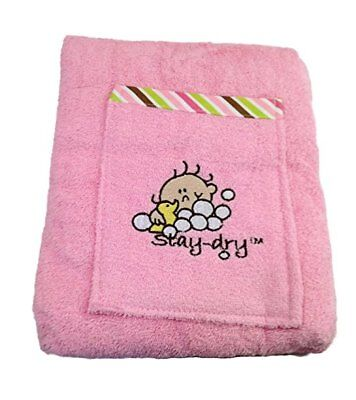 Stay Dry Bath Apron (Stay Dry Bath Apron and Towel Baby Toddler, Pink Striped Trim)