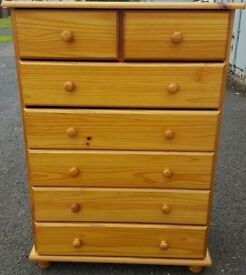 Solid Pine Chest Of 2 Over 5 Drawers.