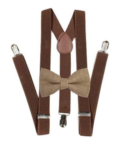 New Barnyard Brown Suspender And Bow Tie Set Tuxedo Wedding Suit Hemp