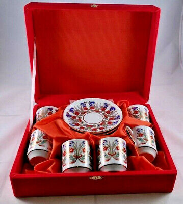 Gural Porselen Turkish  Coffee / Tea / Espresso Cup and Saucer Set (6)