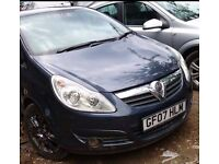 FOR SALE/PART EXCHANGE/HPI CLEAR/BLUE METALLIC 2007 PLATE VAUXHALL CORSA 1.2 DIESEL, 5DR, MANUAL