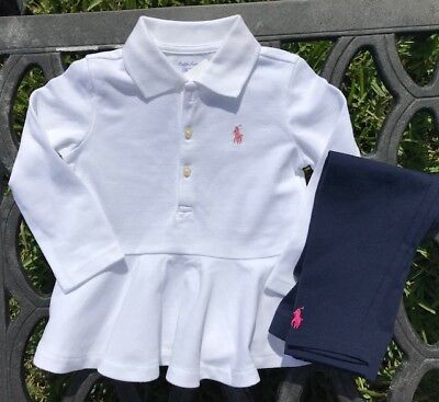 NWT Ralph Lauren Baby Girl Set of 2- Peplum Polo Shirt + Leggings, 18 mo. NEW!