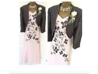 Jacques Vert dress and jacket Grey embroidered design Fully lined Ex Condition