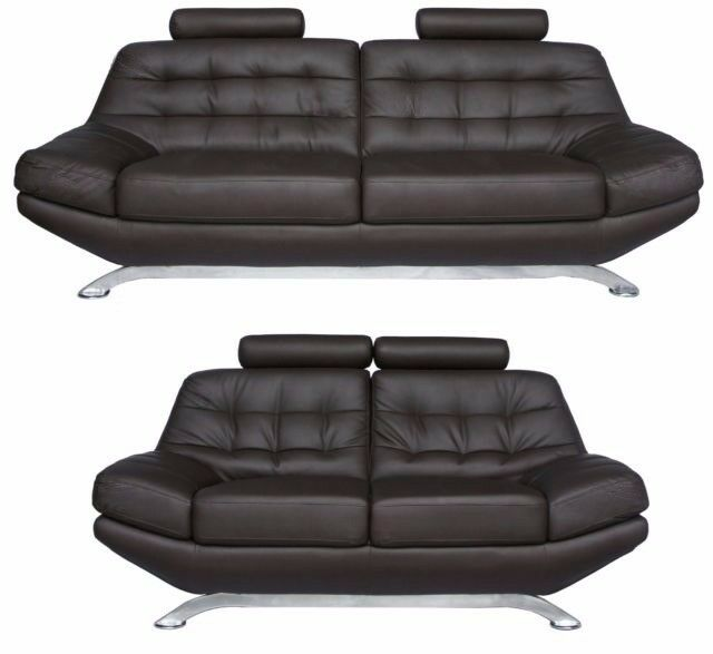 3+2 Seater Brown Leather Paris Sofas. Free local delivery