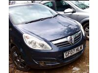 FOR SALE/ HPI CLEAR/BLUE METALLIC 2007 PLATE VAUXHALL CORSA DESIGN CDTI 1.2 DIESEL, 5DR, MANUAL