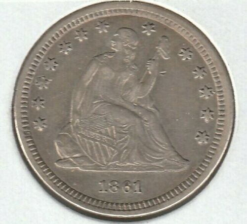 1861 Extra Fine XF Liberty Seated US Silver Quarter 25C