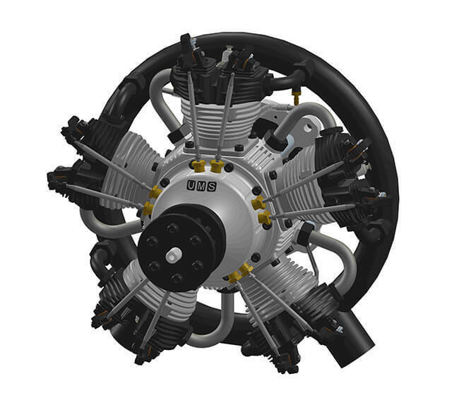 UMS 180cc Gas - 5 Cylinder Radial 4 Stroke Engine
