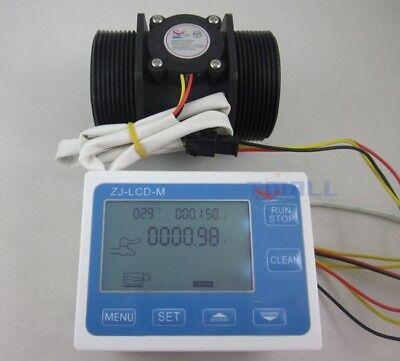 "G2"" 2inch Flow Water Sensor Meter+LCD Display Quantitative Control 5-300L/min"