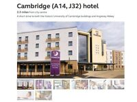 4 Nights Weekend Break Premier Inn Cambridge Family Room 27th-31st July 27/7 - 31/7