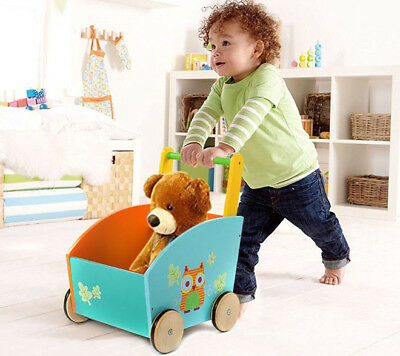 Plan Toys Baby Walker (Infant Blue Wooden Learning Walker Stand Baby Toys Kids Push Pull Activity Toys+ )