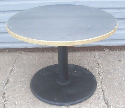 Restaurant Equipment 42 Round Table Stainless Top Wood Trim Sides Black Base