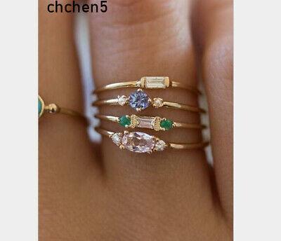 Bohemian Women Gemstone Gem Wedding Bridal Ring Set Boho Jewelry Wholesale