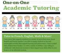 Female Tutor - French and Math Specialty (JK-Grade 12)
