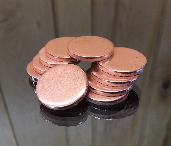 "Copper Disk Circle Blanks 1"" Diameter 1/8"