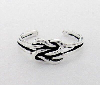 Sterling Silver antiqued love knot adjustable toe ring