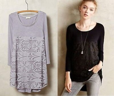 New Anthropologie Capriccio Lace Women Top Shirt Tunic Gray Black Xs S M  68