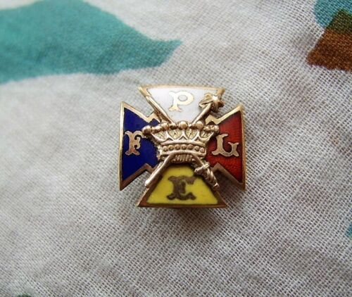 "Vintage KNIGHTS OF PYTHIAS Enamel Brass Pin, Four-Armed Cross, 1/2"""