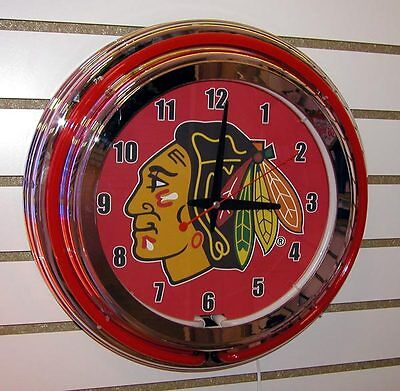 Nhl Neon Clock (NHL Chicago Blackhawks Logo Sign 2 Ring Red/White Neon Clock -)