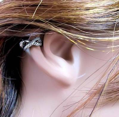Hot Rhodium SNAKE Goddess Designed No Pierce Easy To Wear Ear Nose Ring Cuff ()