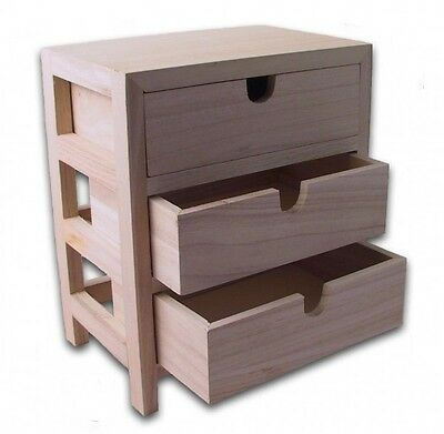 Kommode mit 3 Schubladen / Holz-Rohling