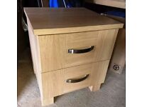MFI Heavy Wood Beech Coloured Bedroom Drawers and 2 Bedside Tables - Excellent condition