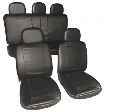 TESLA S FULL LEATHER LOOK CAR SEAT COVER SET BLACK