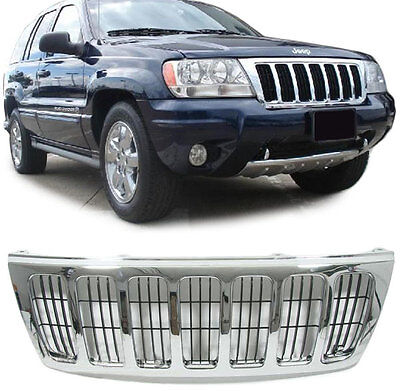 ALL CHROME BONNET GRILL FOR JEEP GRAND CHEROKEE 1999 2003 LAREDO